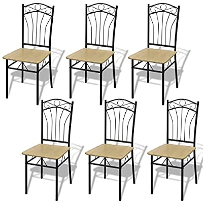 vidaXL New Set of 6 / 4 / 2 Light Brown Steel Frame Dining Chairs Room Furniture Modern produced by vidaXL - quick delivery from UK.