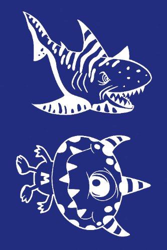 Rayher Schablone, Monster Plus Hai, DIN A5, Gummi, Blau, 26 x 16,10 x 0,2 cm