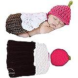 Babymoon (Set of 2) Ice Cream Crochet New Born Baby Photography Shoot Props Costume (Ice Cream)