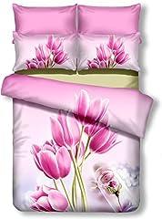 Idea Regalo - decoking Premium 01158Copripiumino matrimoniale 200x 220cm con 2federe 80X 80amaranto 3d in microfibra completo letto lenzuola fiori motivo floreale rosa pink Sandy