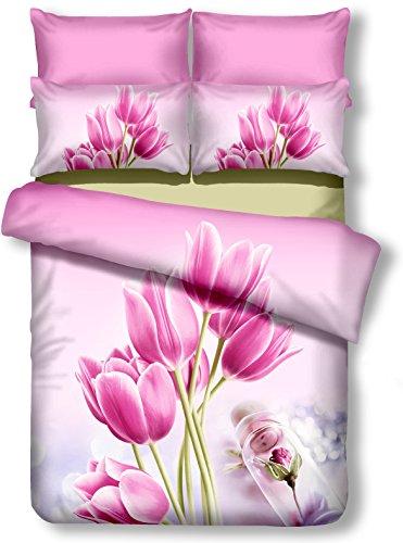 DecoKing Premium 01080 Bettwäsche 135x200 cm mit 1 Kissenbezug 80x80 amarant 3D Microfaser Bettbezug Bettwäschegarnitur Blumen Blumenmuster rosa pink Sandy