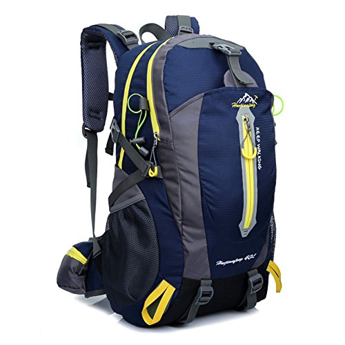 Waterproof Rucksack, 40L Nylon Bag Backpack Flexibilität ist stark Adjustable Breathable Shoulder Perfect for Hiking, Sports, Hiking, Camping, Travelling, Hiking, Climbing, with laptop compartment Dunkelblau