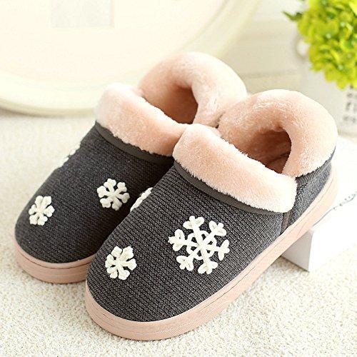 DogHaccd pantofole,Inverno pantofole di cotone femmina calda interna antiscivolo la spessa carino coppie scarpe home pacchetto soggiorno con scarpe di cotone maschio Nero Grigio2