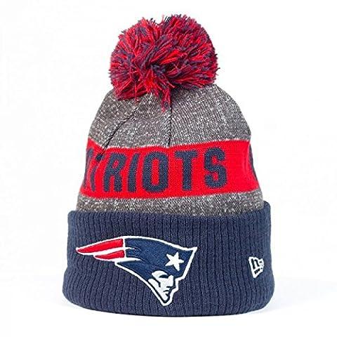 New Era Nfl Sideline Bobble Knit Neepat Otc - Casquette ligne New England Patriots pour Homme, couleur Bleu, taille OSFA