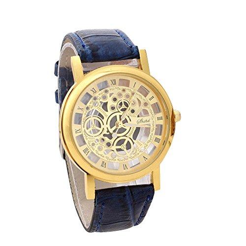 Holeider Herren Armbanduhr Luxus Analog Quartz Uhr mit Kunstleder Armband Mode Uhren 12 Farbe,