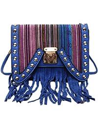 Hawai Blue Striped Small Pu Sling Bag