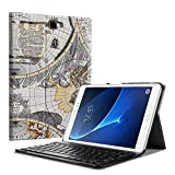 Fintie Bluetooth Tastatur Hülle für Samsung Galaxy Tab A 10,1 Zoll T580N / T585N Tablet - Ultradünn leicht Schutzhülle mit magnetisch Abnehmbarer Drahtloser Deutscher Bluetooth Tastatur, Weiß
