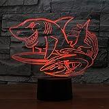 WZYMNYD 3D LED 7 Couleurs Creative Shark Surf Modélisateurs pour Bureau De Bureau Lampe USB Nuit Lumière Chambre Chevet Décoration Animale Enfants Cadeau