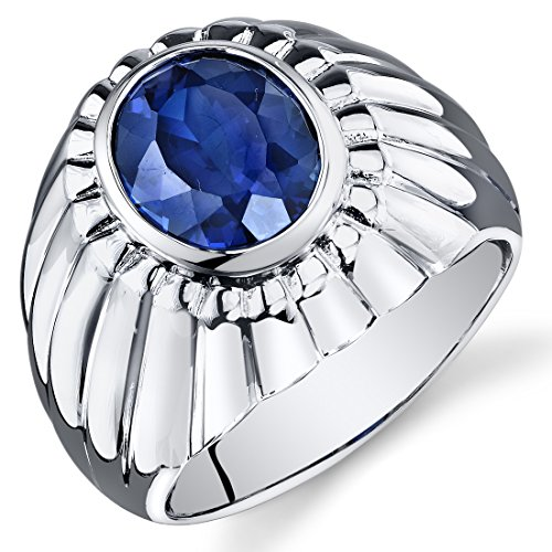 Revoni Mens Bezel Set 5.50 Carats Oval Cut Blue Sapphire Ring In Sterling Silver With Rhodium Finish