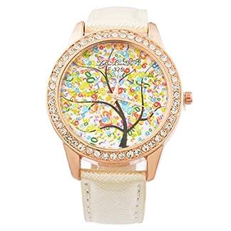 MJartoria-Damen-Armbanduhr-Quarz-Uhr-Modeschmuck-PU-Lederarmband-Mode-Design-Lebensbaum-Muster-mit-Strass-Wei
