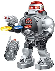 Gooyo RC Infrared Space Fighter Toy Robot with Shooting Discs for Kids/Boys