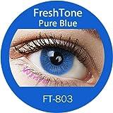 """Farbige Kontaktlinsen Monatslinsen blau """"Pure Blue"""" ohne Stärke mit Aufbewahrungsbehälter"""