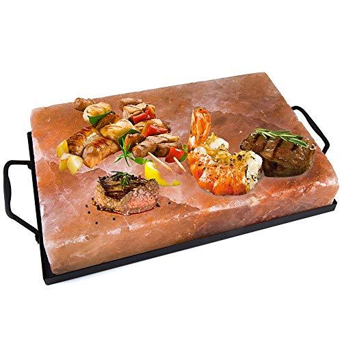 Piastra di Sale Rosa Himalayano Dim. 30x20 cm con Supporto per Cucinare e Servire Pane Carne Pesce Uova e altro