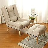 WOF Adjustable Lazy Single Sofa Stuhl- Faltbare BreastfeedingCouch Betten Sessel mit Fußbank (Gelb) (Color : Beige)