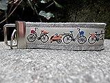 Schlüsselanhänger Schlüsselband Wollfilz hellgrau Fahrräder beige orange Geschenk !