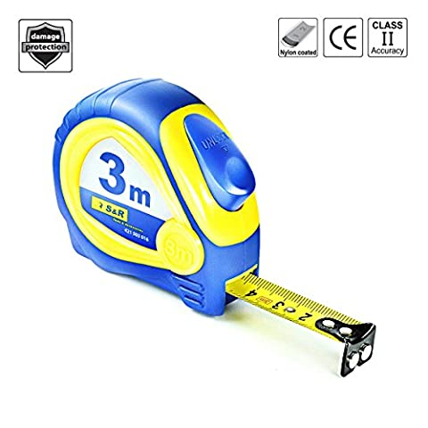S&R Magnetic Hook Tape Measure 3 m x 16 mm Nylon Polymer Coated Band, impact-resistant housing - AUTOLOCK, Magneto