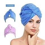 htovila Haarturban Handtuch für die Haare Haar-Handtuch Turban 2er Set schnelltrocknendes Handtuch, Blau + Lila