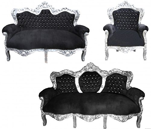 Casa Padrino Barock Wohnzimmer Set 'King' Schwarz/Silber - 3-er Sofa + 2-er Sofa + 1 Sessel