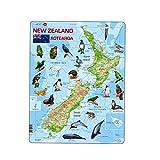 Larsen A4Nouvelle-Zélande–carte physique avec animaux puzzle