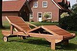 Hecht Sonnenliege - ERA -, Gartenliege, Holzliege, Liege aus Meranti Holz - 4