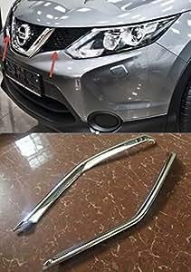Nissan Qashqai 2014 2015 2016 2 baguettes chromées entre les projecteurs et la calandre