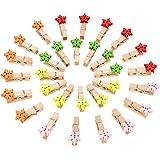 Tatuo 50 Stück Schneeflocke Holz Clips Mini Holz Schneeflocke Wäscheklammern für Weihnachten Hochzeit Hängen Bilder Notizen Handwerk (Assorted Colors)