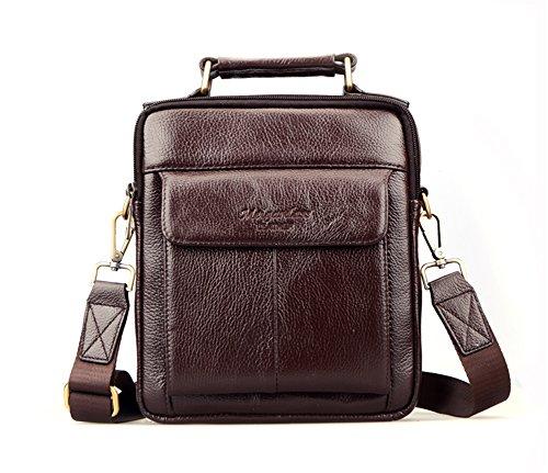 Genda 2Archer in Pelle Uomini Borsa a Tracolla iPad Messenger Bag da 10 Pollici (24.5 cm* 7cm *21 cm) Caffè