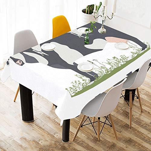 Tiermilch Kuh Natur Schönheit Benutzerdefinierte Baumwolle Leinen Gedruckt Platz Fleck Beständig Tischwäsche Tuch Abdeckung Tischdecke Für Küche Haus Esszimmer Tischplatte Decor 60 X 84 Zoll Waschbar