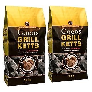Holzkohlewerk Lüneburg Cocos Grillketts Premium Grillbriketts aus Kokos-Kohle - 20kg - extra lange Brenndauer - ideal für Dutch Oven, Smoker und Lotus-Grill