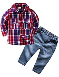 1-6Years,Zimuuy Children Kids Boys Girls Long Sleeve Button Plaid Shirt Tops Blouse+Denim Pants Jeans Set Outfits