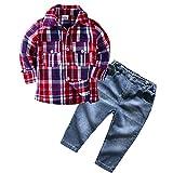 Bestow Ropa de niños Camisa a Cuadros de Manga Larga para niños + Traje de Dos Piezas de Jeans(Rojo,12-18M)