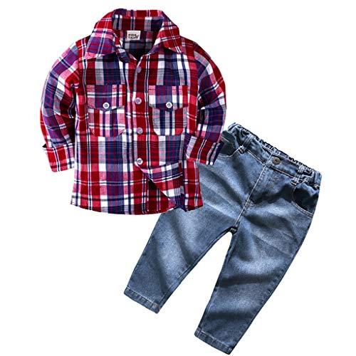 Mamum Ensemble de vêtements pour garçons, jeans et chemise à manches longues, tenues pour nouveau-nés, vêtements (7(5-6Ans))