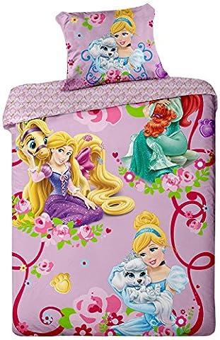 Jerry Fabrics JF0098 Bettwäscheset Prinzessinnen 2015, 1x Bettdecke und Kissenhülle, 100% Baumwolle, 140 x 200 / 70 x 90
