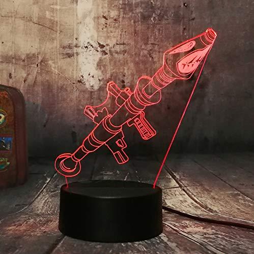 Battle Royale Game Rocket Launcher Arms TPS PUBG Lámpara de mesa 3D LED 7 Color Luz Nocturna Decoración Luz Niños Niño Navidad Regalo