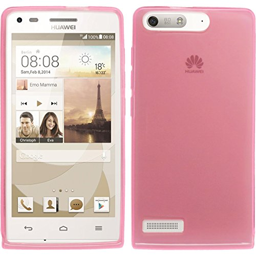 PhoneNatic Case für Huawei Ascend P7 Mini Hülle Silikon rosa transparent Cover Ascend P7 Mini Tasche + 2 Schutzfolien