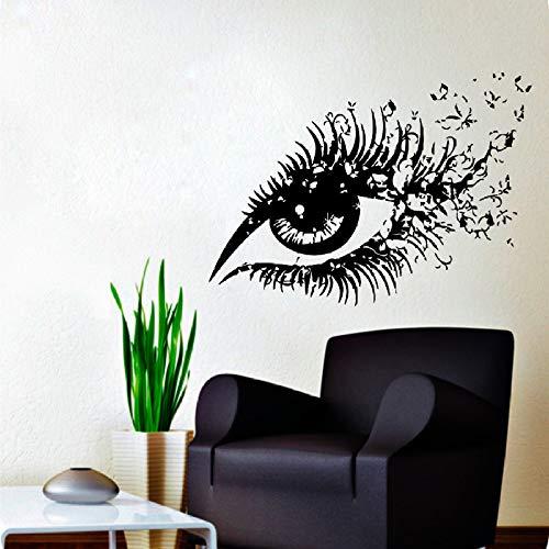 jiushizq Schöne Frau Augen Vinyl Wandaufkleber Auge Mit Schmetterlingen Home Schlafzimmer Kunst Mode Dekor Make-Up Salon Wandmalereien Rot 42x60 cm