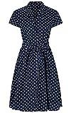 Damen 1940 er Retro-Design, Vintage-Stil, Blau mit weißen Punkten, A-Linie-Kleid mit Gürtel, Blau, 40