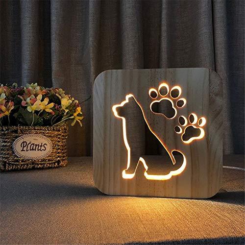 Motiv Nachtlicht Nette Hundetiere Schnitzen Muster 3D Kinderzimmer Massivholz Nachtlicht Illusion LED Lampe Schlafzimmer Schreibtischlampe Geschenk Für Baby Kinder Erwachsene Dekoration USB Powered Sw Kabel Sw Net