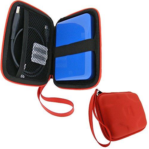 igadgitz Rosso EVA Borsa Custodia Rigida per Western Digital My Passport Ultra, Ultra Metal, Air, Mac, X & WD Elements 500GB 1TB 2TB 3TB Portatile Hard-Disk Esterno Case Cover