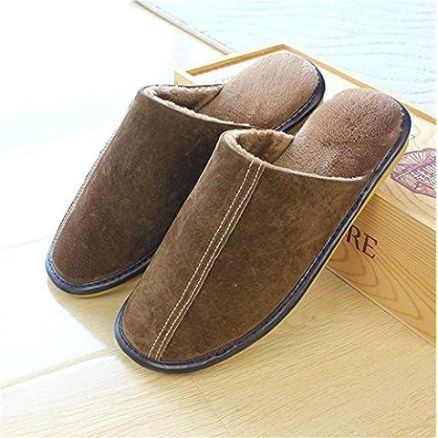 ZHLONG Autunno-inverno caldo cotone pantofole uomo casa pantofole casa skid scarpe , 2 , small