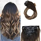 Moresoo 18 Pulgada Human Hair Remy PU Weft Clip in Hair 120 Grams 7 Pieces Human Clip in Extensions Off Black #1B Fading to Brown #3 Mixed with Caramel Blonde #27 Clip on Hair