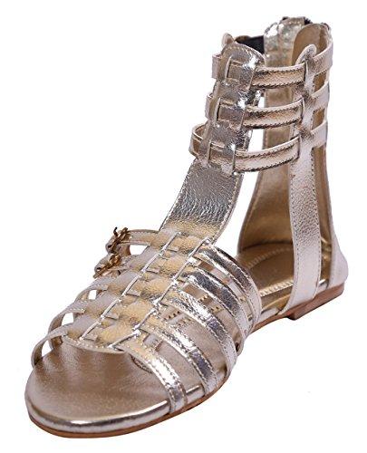 John Sparrow bout ouvert chaussures bride à la cheville à glissière sandale plate des femmes - taille disponible Or