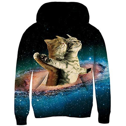 RAISEVERN Jungen-Mädchens für Stern-Liebhaber Das 3D Galaxie-Hoodie-Neuheit-personalisiertes Pullover-Sweatshirt des -