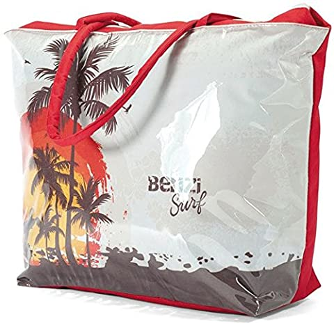 Large Waterproof Beach Tote Bag with Palm Tree Design BZ4340 Orange