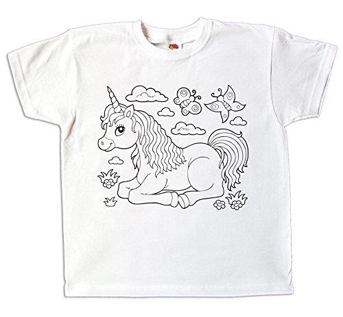 Kinder T-Shirt Einhorn für Mädchen Zum bemalen und ausmalen mit Vordruck Zum Kindergeburtstag Kreatives Spiel und Geschenk (128)
