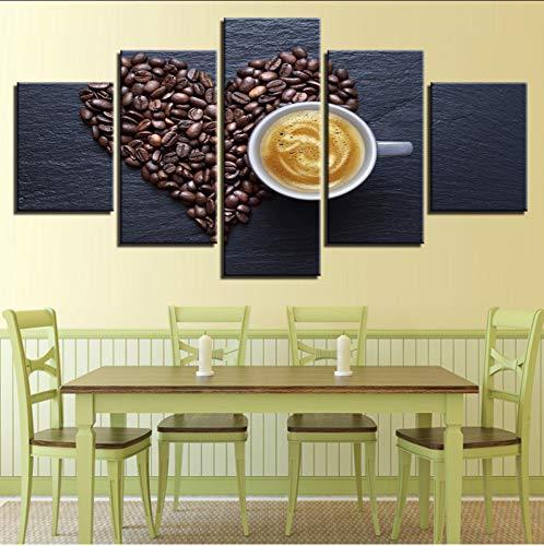 syssyj (Kein Rahmen) Modular Pictures Bedside Hintergrund Poster Abstrakt 5 Stücke Kaffeebohnen Herz Moderne Gemälde Für Dekor Leinwand Kunstdruck Wand