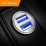 DIVI Auto Ladegerät, Metall Mini USB Auto Adapter 12V/ 24V KFZ Ladegerät 2-Port 24W 5V / 4.8A mit Aluminium-Legierung Gehäuse für iPhone XR/Xs Max, Samsung Galaxy S8, Huawei Und mehr (Silber)-MEHRWEG