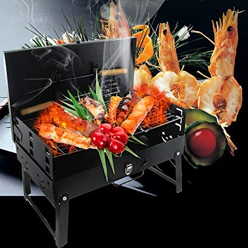 Vinteky Barbecue à charbon de bois portatif d'extérieur avec grille Idéal pour un pique-nique/le camping/une fête champêtre