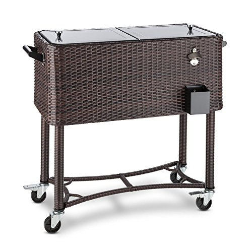 Blumfeldt Springbreak - Bar Mobile, glacière frigorifique pour terrasse et Jardin, contenance de 80L (décapsuleur et Receptacle à Capsules, roulettes, vidange Facile) - rotin foncé