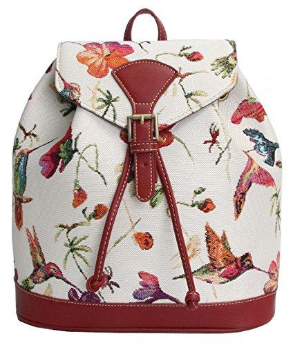 Handbag Queen Signare pour femme de petite taille sac à dos Sac à dos Tapisserie Toile Mode Sacs Colibri Motif